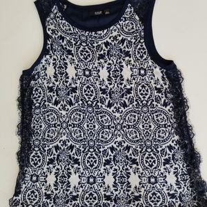 ana navy/white soft sleeveless knit top